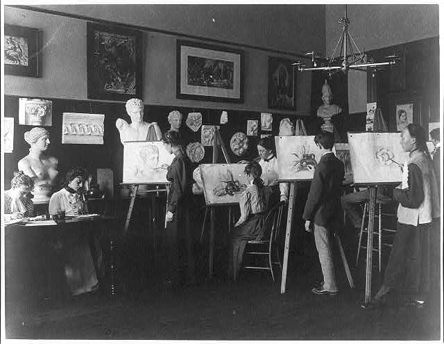 [A class in painting, Central High School]