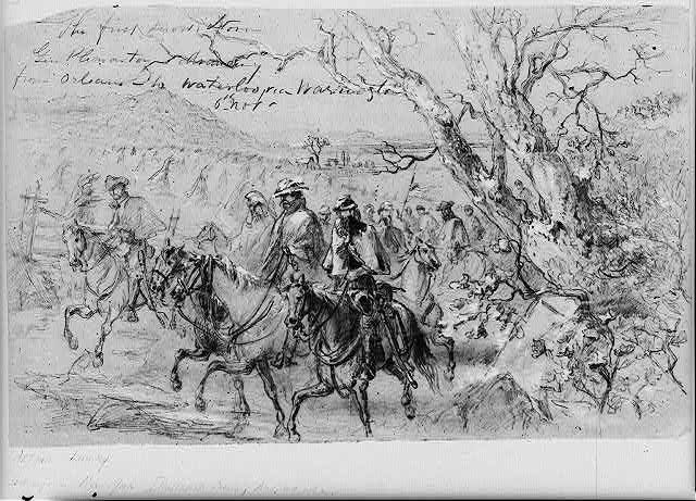 The first snow storm. Gen Pleasanton advancing from Orleans to Waterloo via Warrington, 6th Nov.