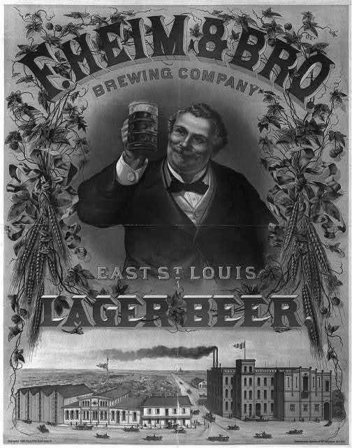 F. Heim & Bro. brewing company, lager beer, East St. Louis