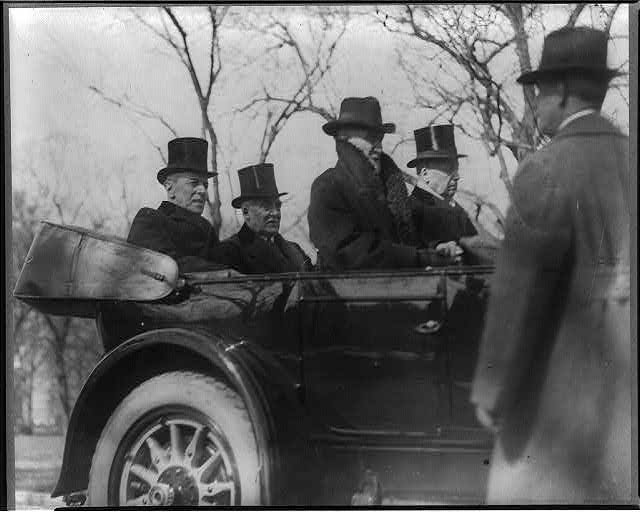 Wilson, Harding, Cannon and Knox in car on way to Harding's inauguration, Mar. 1921