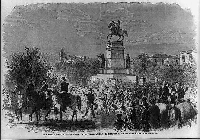 An Alabama regiment marching Capitol Square, Richmond, on their way to join the rebel forces under Beauregard