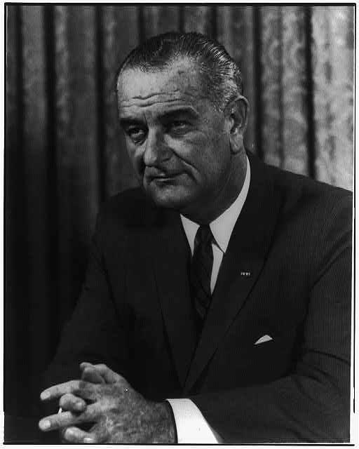 [Lyndon B. Johnson, head-and-shoulders portrait, facing left]