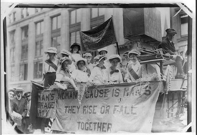 Suffragettes riding float...New York Fair, Yonkers