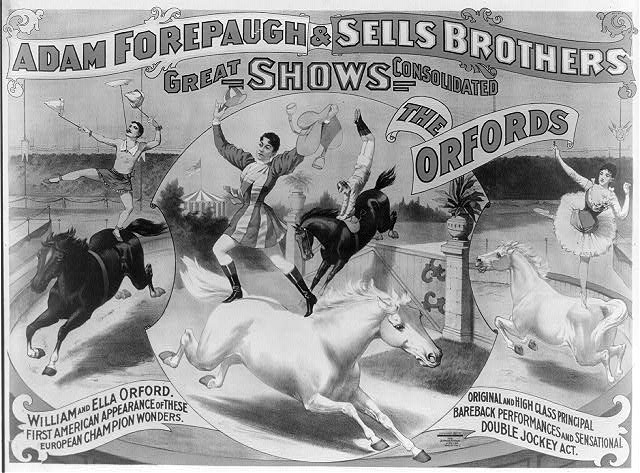 Adam Forepaugh & Sells Brothers great shows consolidated.  The Oxfords.  William and Ella Orford. ... Original and high class principal bareback performances and sensational double jockey act