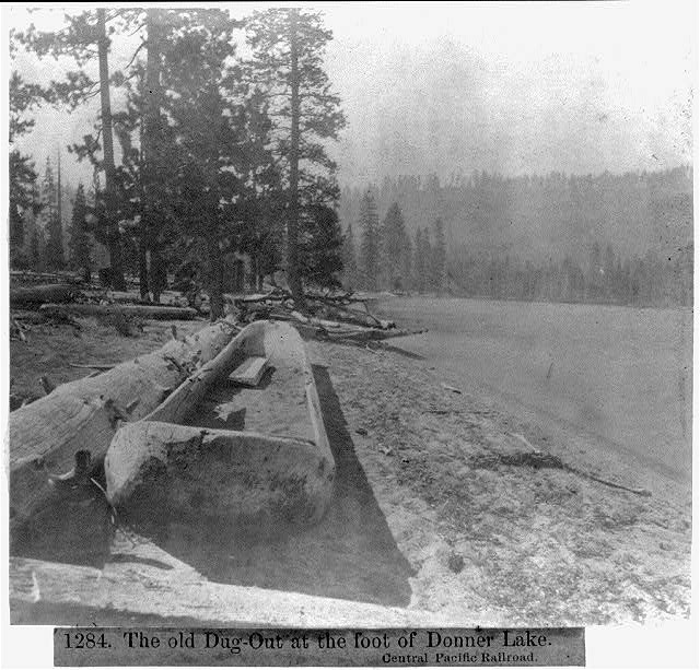 The old Dug-Out at the foot of Donner Lake - Central Pacific Railroad