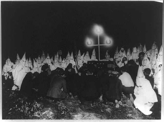 Ku Klux Klan assembled to receive candidates for membership