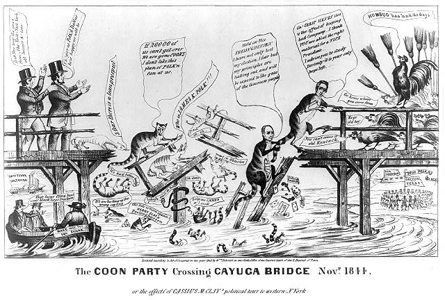 The coon party crossing Cayuga Bridge Novr. 1844. Or the effects of Cassius M. Clay's political tour to western N. York