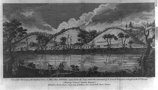 View of the west bank of the Hudson's River 3 miles above Still Water, upon which the army under the command of Lt. General Burgoyne, took post on the 20th Sepr. 1777 (shewing General Frazer's funeral)
