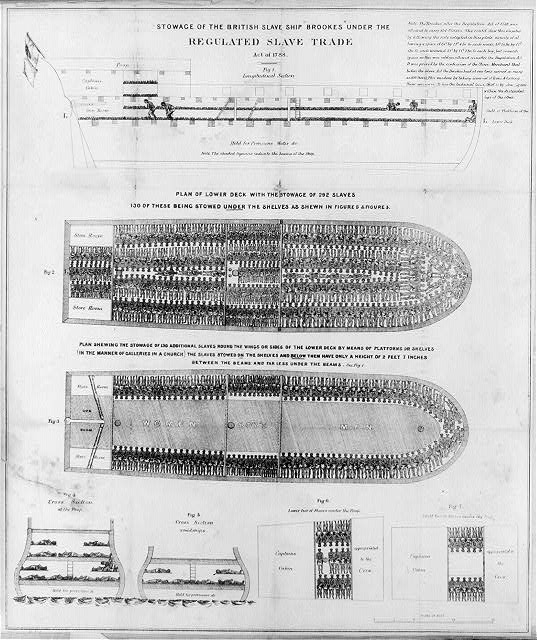 """Stowage of the British slave ship """"Brookes"""" under the Regulated Slave Trade Act of 1788"""