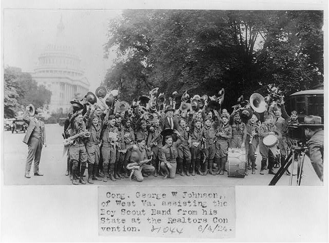 [Congressman George W. Johnson of West Virginia posed with Boy Scout band from his state]