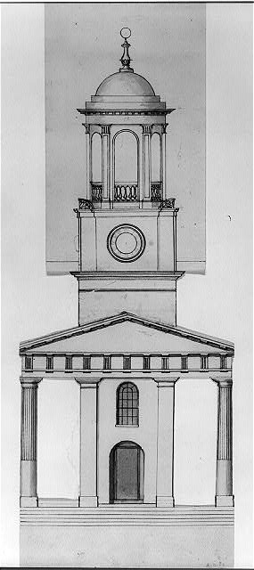 "[Church (""Unitarian Church""), D Street and 6th Street, Washington, D.C. (Overlay for no. 6) Front portico and tower]"