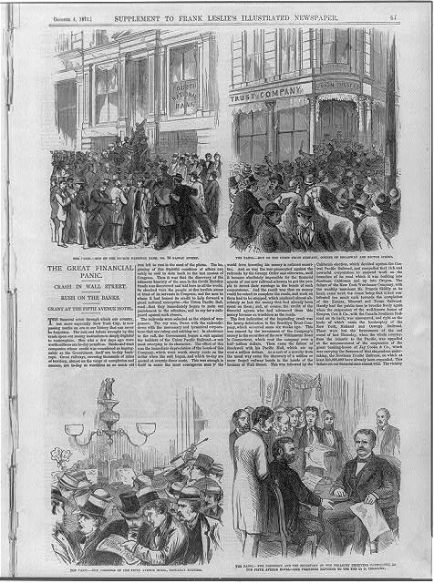 The Great Financial Panic of 1873 - [4 illus. and text] Run on the 4th National Bank, 20 Nassau St.; Run on the Union Trust Co., Broadway & Rector St.; Lobby of the 5th Avenue Hotel, Sat.; Pres. Grant & Sec. of Treas. Richardson receiving capitalists at the 5th Ave. Hotel; Grant refusing to use the U.S. Treasury