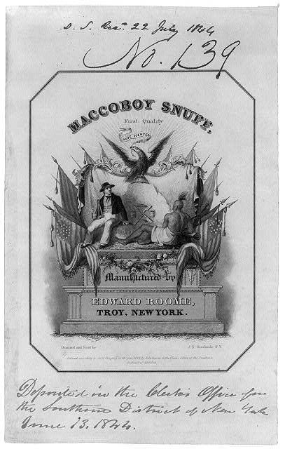 Maccoboy Snuff - First quality, rose scented - Manufactured by Edward Roome, Troy, New York.