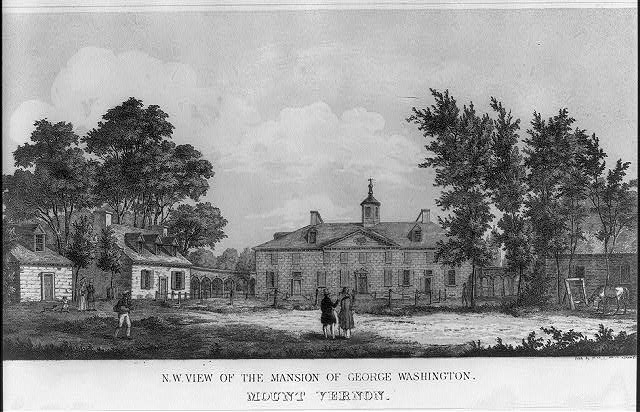 N.W. view of the mansion of George Washington. Mount Vernon
