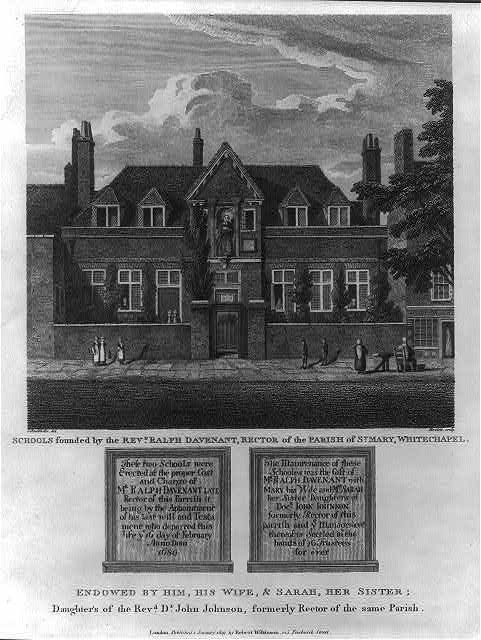 Schools founded by the Revd. Ralph Davenant, Rector of Parish of St. Mary, White Chapel