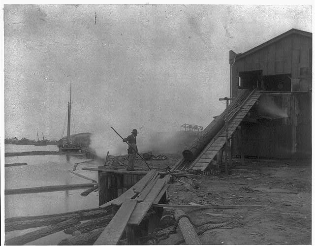 [African American guiding log from water onto saw mill ramp,  Newport News, Va., 1900]
