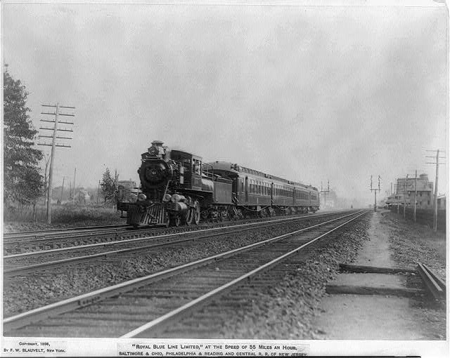 """""""Royal Blue Line Limited"""", at the speed of 55 miles an hour. B&O, P&R and Central R.R. of New Jersey"""