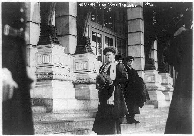 Mrs. J.R. Livermore arriving for Astor tableaux. 1914. New York?