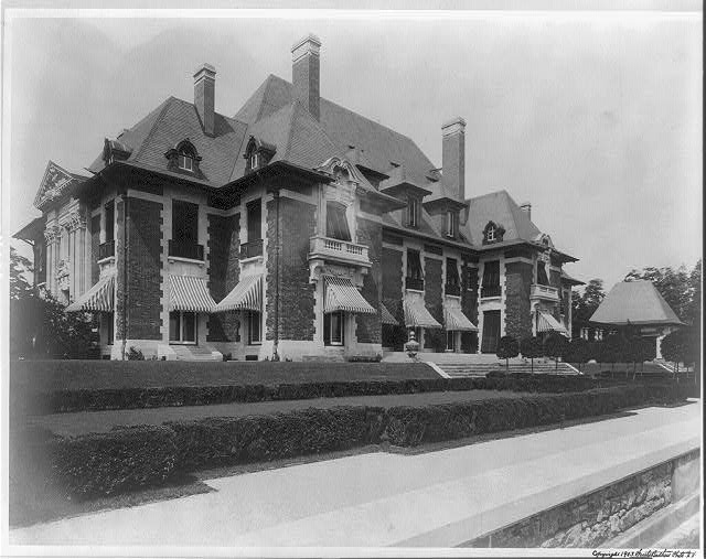 """Blairsden"", a large mansion owned by C.L. Blair: view of front of house"