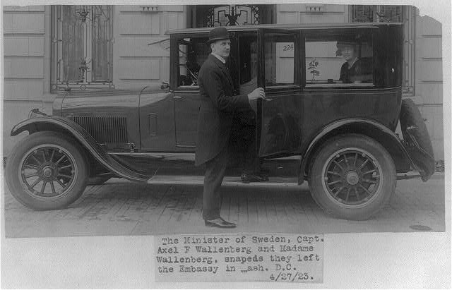 [Axel F. Wallenberg, full, standing by auto in front of Swedish Embassy, Wash., D.C.]