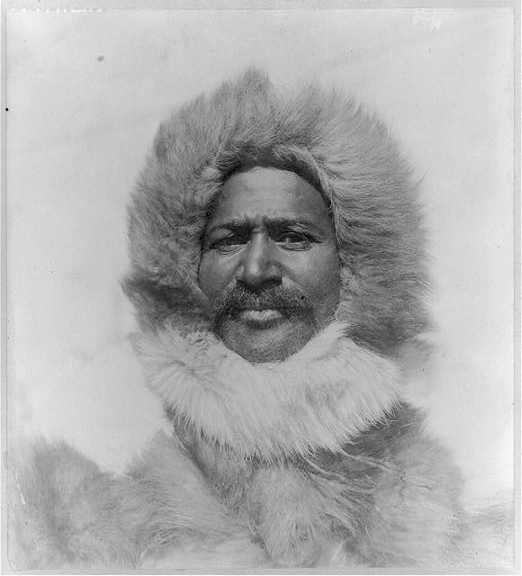 [Matthew Alexander Henson, head-and-shoulders portrait, facing front, wearing fur hat and fur coat]