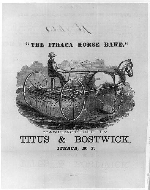 """The Ithaca horse rake."" Manufactured by Titus & Bostwick, Ithaca, N.Y."