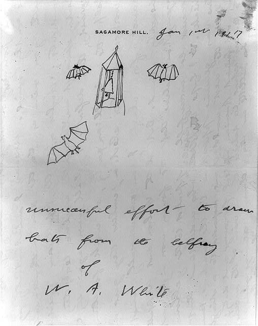"""Unsuccessful effort to draw bats from the belfry of W.A. White"" A sketch by Roosevelt prefacing a letter of January 1, 1917, to the editor of the Emporia Gazette."