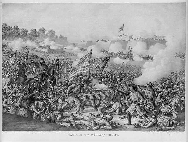 Battle of Williamsburg--Gen. Hancock's charge, May 5, 1862. Union (Gen. McClellan) ... Conf. (Gen. J.E. Johnston) ...