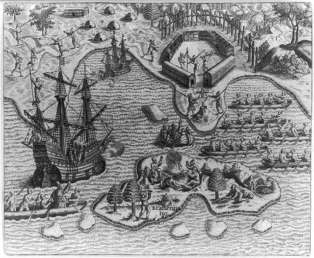 Johannes Staden arrives at St. Katherine's Island