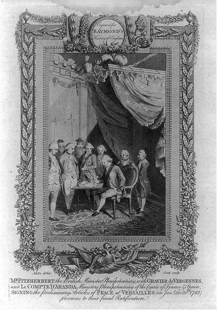 Mr. Fitzherbert the British minister plenipotentiary, with Gravier de Vergennes, and le Compte d'Aranda ministers plenipotentiary of the courts of France & Spain, signing the preliminary articles of peace at Versailles (on Jany. the 20th 1783) previous to their final ratification