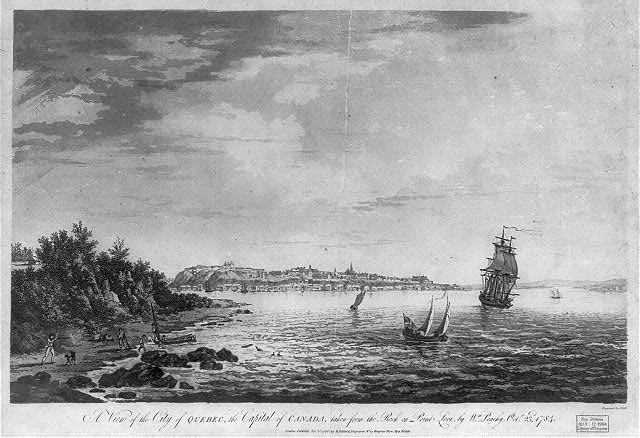 A view of the city of Quebec, the capital of Canada, taken from the rock on Point Levi, by Wm. Peachy Octr. 23d, 1784