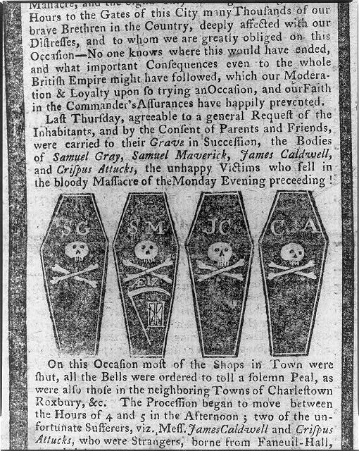 [Four coffins of men killed in the Boston Massacre]