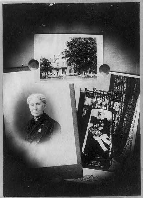 [Annie Wittenmyer, group of three photos: bust portrait; on porch of house; lying in casket]