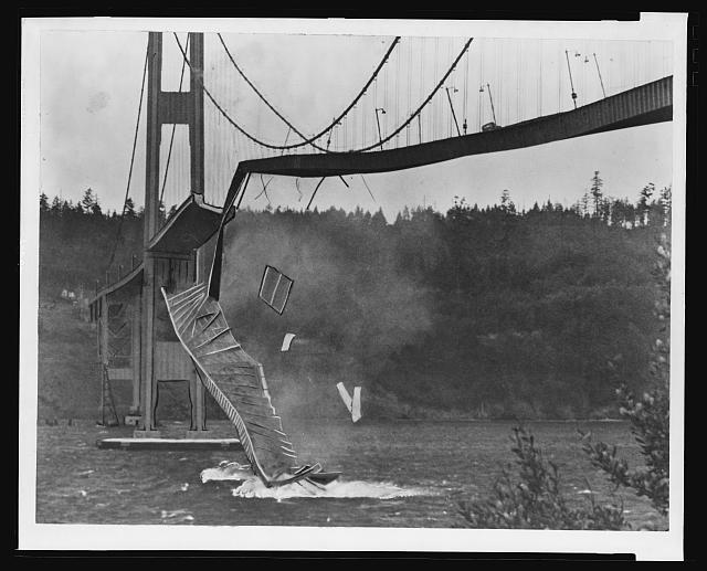 [Washington, Tacoma. Suspension bridge collapses into the Tacoma Narrows]