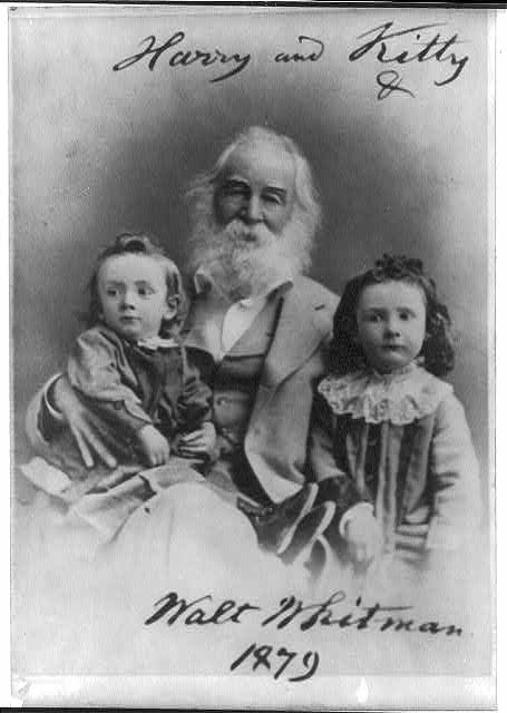 [Walt Whitman, 1819-1892, seated portrait, facing left, with Harry & Kitty, children of J. N. Johnston]