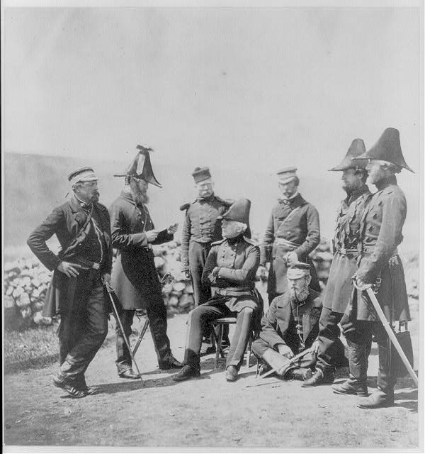 Lieutenant General Sir George Brown G.C.B. & officers of his staff Major Hallewell, Colonel Brownrigg, orderly, Colonel Airey, Captain Pearson, Captain Markham, Captain Ponsonby.