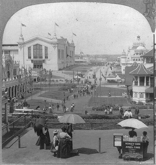 International Avenue and Forestry Building from floral clock, Louisiana Purchase Exposition.