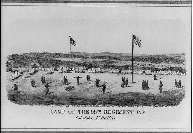 Camp of the 98th Regiment, P[ennsylvania] V[olunteers]