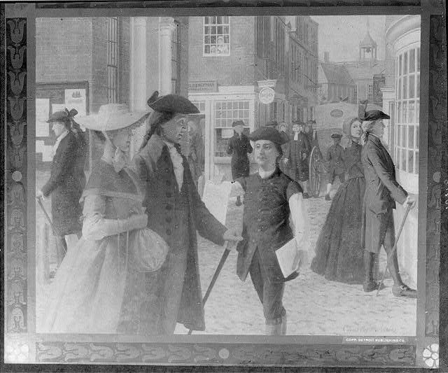 Franklin selling his ballads in the streets of Boston