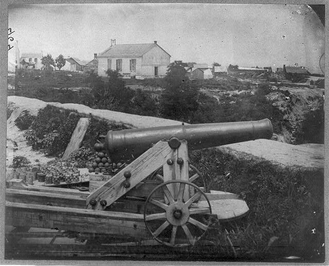 Confederate naval battery at Yorktown, Va.; Nelson Church hospital (in background) July 1, 1862