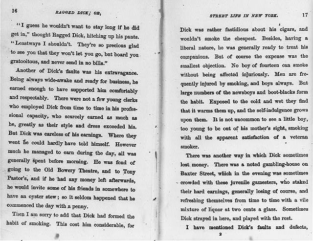 [Ragged Dick by Horatio Alger, Jr. (Boston, Loring, 1868): preface to end (p. 18), no illus.]