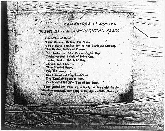 Cambridge 21st August 1775. Wanted for the Continental Army ...