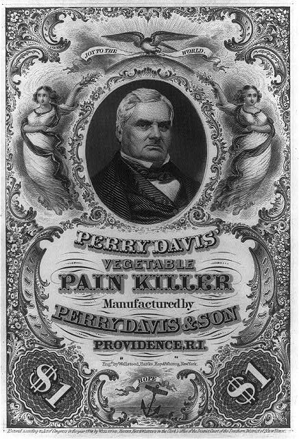 [Perry Davis, bust, facing right, on advertisement for Perry Davis' vegetable pain killer]