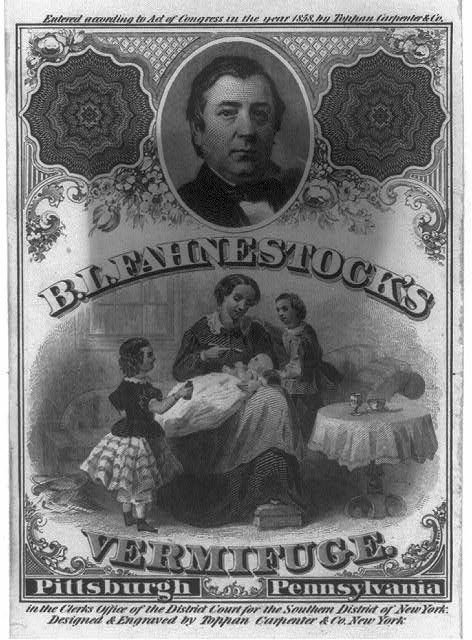 [B.L. Fahnestock bust, facing right, on advertisement for Fahnestock's Vermifuge]