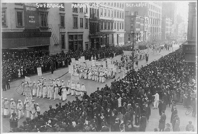 Pre-election parade for suffrage in NYC, Oct. 23, 1915, in which 20,000 women marched