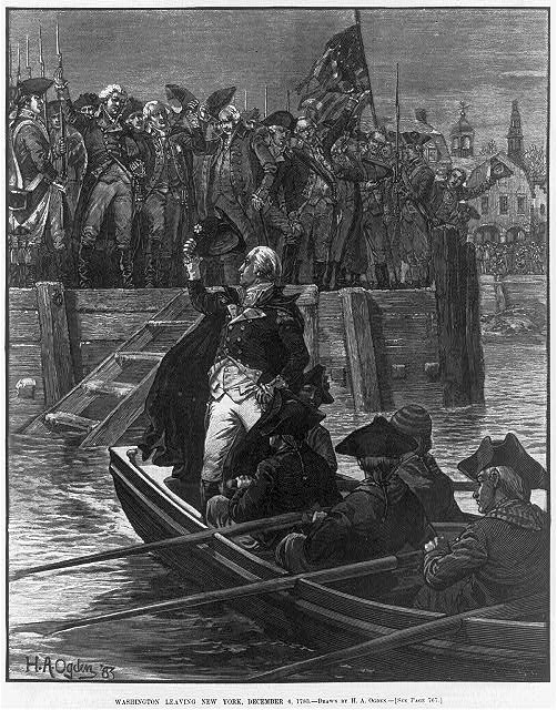 [George Washington in small boat bidding farewell to crowd in New York, 1776]