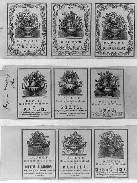 [Nine advertisement labels for Dupuy products]