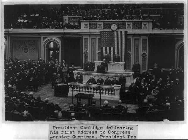 Pres. Coolidge delivering his 1st address to Congress