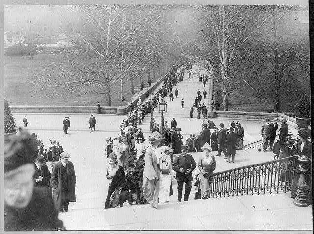 Washington, D. C., Suffragettes at Capitol opening of Congress