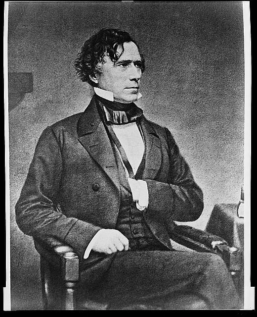 [President Franklin Pierce, three-quarter length portrait, seated, facing right, with left hand inside vest]